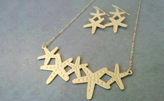 סט עגילים ושרשרת בצורת כוכב ים