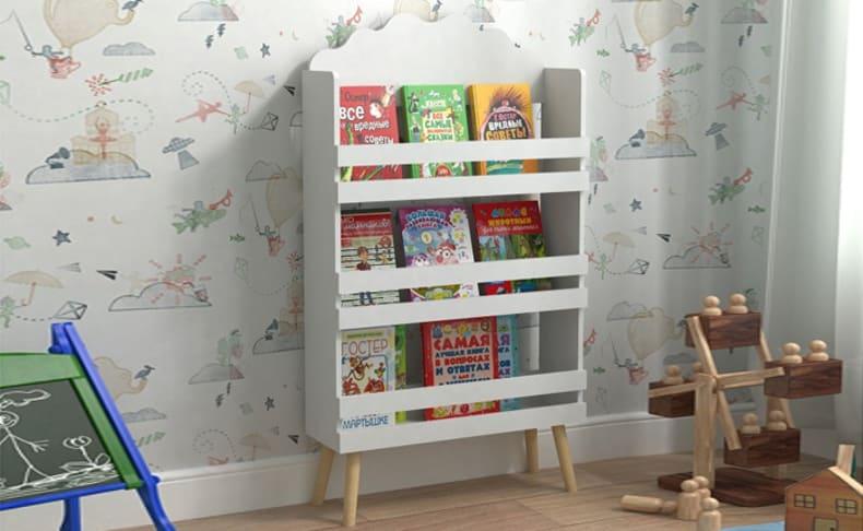 כוננית ספרים וצעצועים לילדים